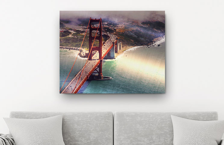 A metal print on a wall